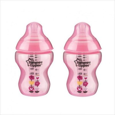 Tommee-Tippee-Closer-To-Nature-Decorated-Bottle-Pink-Flower-Twin-Pack-260ml-9oz-600x600